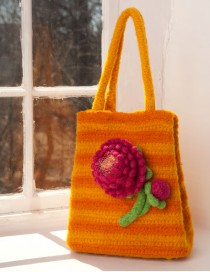 Bag in Shepherd's Wool Sun Yellow and Orange with Fuchsia and Lime Peony