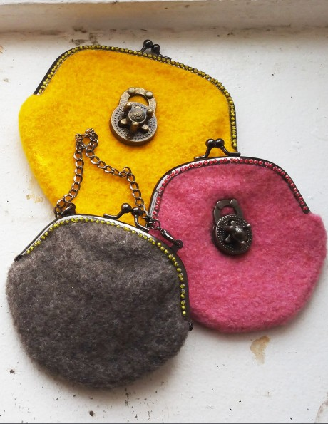 Locket trio: large Sun Yellow and small Milk Chocolate and Zinnia Pink