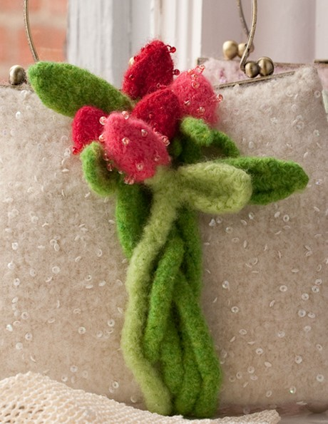 Beaded Sweetheart Roses in Christmas Red and Fuchsia with Lime and Spring Green stems