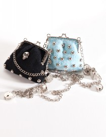 Just the Change in Black with Skull and in Light Turquoise with Cabochon Rivets
