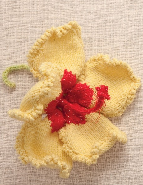 Hibiscus Flower made in Shepherd's Wool Spring Chick petals with Hot Pink center.