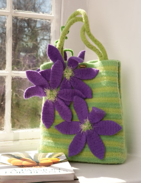 Clematis Shopping Bag in Lime and Spring Green with Purple flowers