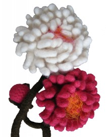 Felted White and Fuchsia Peonies