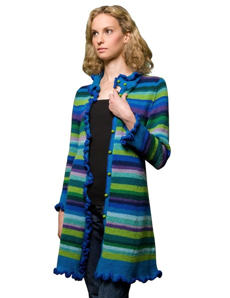 A striped Ella Coat in cool colors. The stripe combination is included in the pattern.