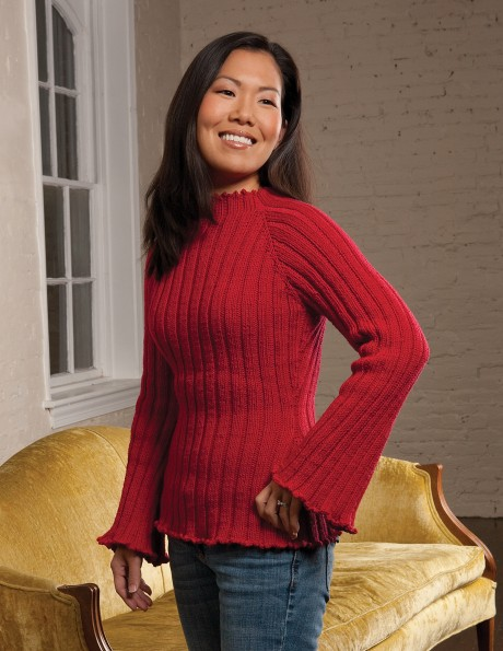 Top-down Ribbed Pullover with Bell Sleeves