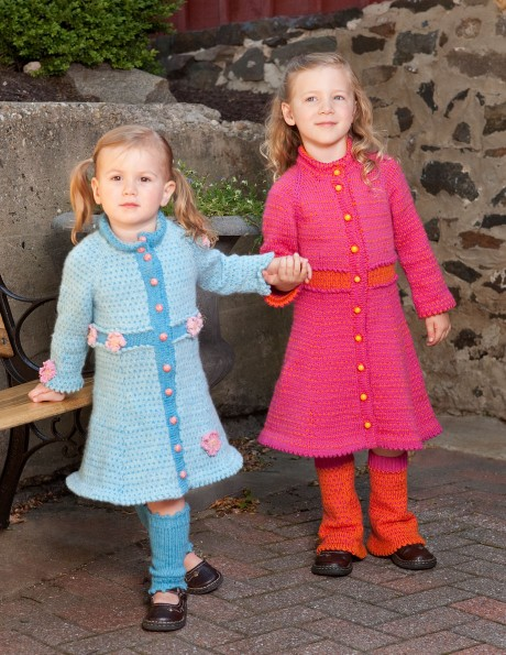 Coats and legwarmers in Shepherd's Wool. Light Turquoise and Misty Blue coat on left, Hot Pink and Orange coat on right.