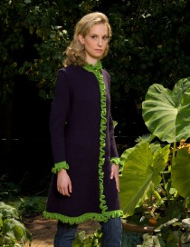 Plum Ella Coat with Lime ruffles, side view