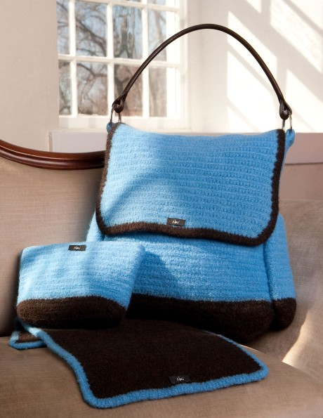 Baby bag, Accessory bag, and Changing Pad in Misty Blue with Brown accents