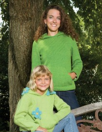 Hoodies for girls (Spring Green) and woman (Lime) in Shepherd's Wool