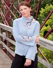 Classic Cardigan in Baby Blue with Cherry Blossom Embellishment